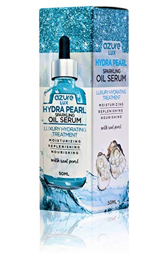Azure Cosmetics - Hyaluronic Acid & Pearl Hydrating Sparkling Oil Serum – Wrinkle, Fine Line & Acne Scar Reducing | Hydrates and Moisturizes Skin | Tones and Rejuvenates – 50ml