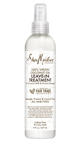 Shea Moisture - Shea Moisture 100% Virgin Coconut Oil Leave-in Treatment, Shine Curly and Tame Frizz for Tangle-Free Hair, All Natural certified Organic, 8 Ounce