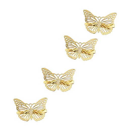 ZeroZ - Women Girl Gift Golden Butterfly Hair Clip Headband Hair Accessories Headpiece 4 Pcs