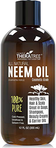 Oleavine - Neem Oil Organic & Wild Crafted Pure Cold Pressed Unrefined Cosmetic Grade 12 oz for Skincare, Hair Care, and Natural Bug Repellent by Oleavine TheraTree