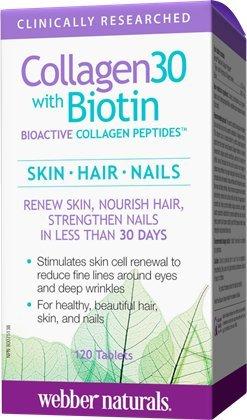 Webber Naturals - Webber Naturals Collagen30 with Biotin Bioactive Collagen Peptides, 120 Tablets