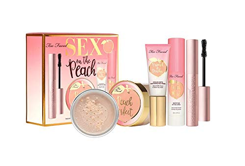 Too Faced Too Faced Sex On The Peach Complexion Set! Mascara, Setting Powder, Primer and Setting Spray! Intensely Black Volumizing Mascara! Silky Smooth Matte Finish Setting Powder, Primer and Setting Spray!