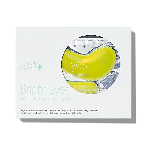 100% PURE - 100% PURE Bright Eyes Mask (5 Pack), De-Puffing Under Eye Patches, Brightens Dark Circles, Vegan Undereye Masks For Tired Eyes, Green Coffee and Hyaluronic Acid, Restores Skin Suppleness - 5 PACK