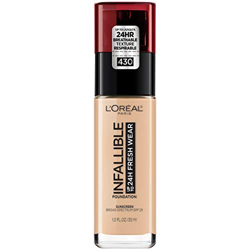 L'Oreal Paris - L'Oréal Paris Makeup Infallible up to 24HR Fresh Wear Liquid Longwear Foundation, Lightweight, Breathable, Natural Matte Finish, Medium-Full Coverage, Sweat & Transfer Resistant, Ivory Buff, 1 fl. oz.