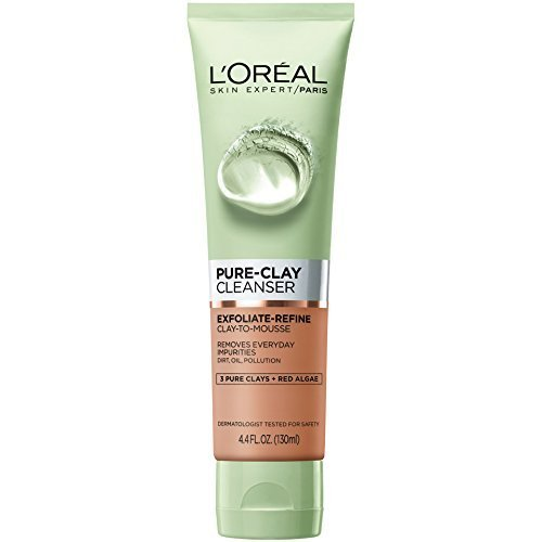 L'Oreal - L'Oreal Pure Clay Cleanser with Red Algae, Exfoliate Refine, 4.4 fl oz (Pack of 2)