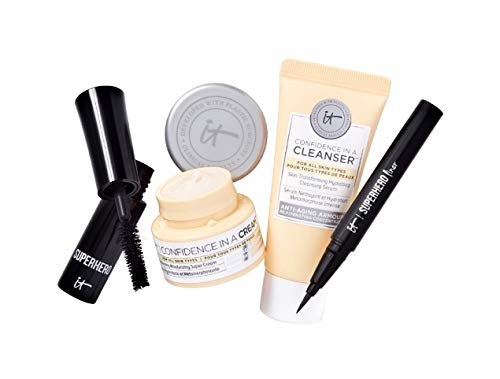 It Cosmetics - It Cosmetics Travel Set Confidence In A Cleanser Cream Superhero Eye Liner And Super Hero Mascara