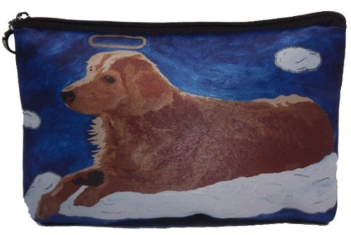 Salvador Kitti - Dog Cosmetic Bag, Zip-top Closer - Taken From My Original Painting, Ginger - Angel Dog