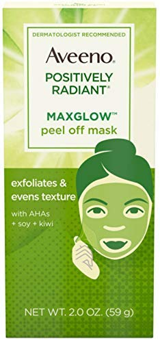 Aveeno - Aveeno Positively Radiant MaxGlow Peel Off Exfoliating Face Mask with Alpha Hydroxy Acids, Moisture Rich Soy & Kiwi Complex 2 oz