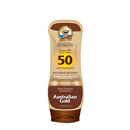 Australian Gold - Australian Gold Sunscreen Lotion with Kona Coffee Infused Bronzer, Broad Spectrum, Water Resistant, Cruelty Free, Paraben Free, PABA Free, Oil Free, Dye Free, Alcohol Free, SPF 50, 8 Ounce