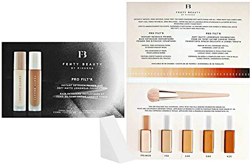 Fenty Beauty - Fenty Beauty By Rihanna Pro Filt'r Instant Retouch Primer & Soft Matte Longwear Foundation Sample Packet (Free Cosmetic Wedge Sponge Included)
