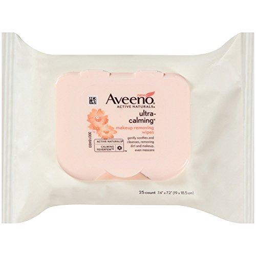 Aveeno - Aveeno Ultra-Calming Cleansing Oil-Free Makeup Removing Wipes for Sensitive Skin, 3 Pack (25 Count)