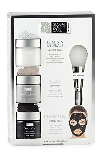 Global Beauty Care Premium - Dead Sea Minerals, Clay, Charcoal Gel Face Mask with Applicator
