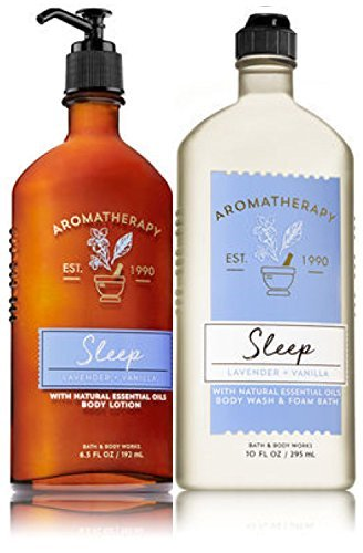 Bath & Body Works - Bath & Body Works Aromatherapy Sleep - Lavender + Vanilla Body Lotion, 6.5 Fl Oz + Body Wash & Foam Bath, 10 Fl Oz