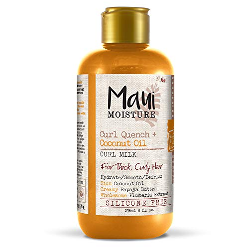 Maui Moisture - Maui Moisture Curl Quench + Coconut Oil Curl Milk, 8 Ounce, Creamy Silicone Free Leave-In Helps Hydrate, Detangle and Defrizz Hair, Good for Thick, Curly Hair, Helps Add Definition to Curls