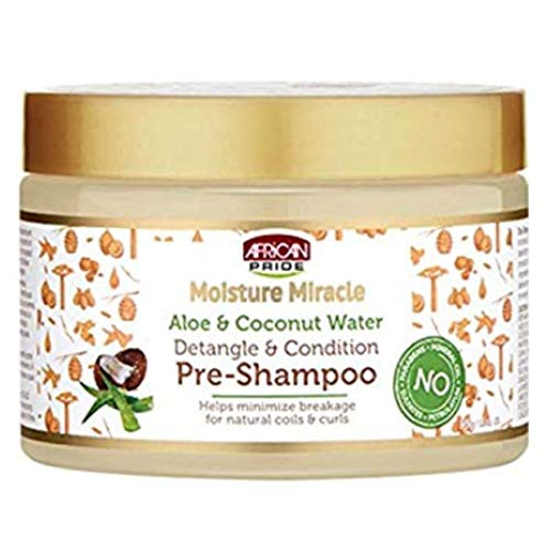 African Pride - Moisture Miracle Aloe & Coconut Water, Detangle & Condition Pre-Shampoo