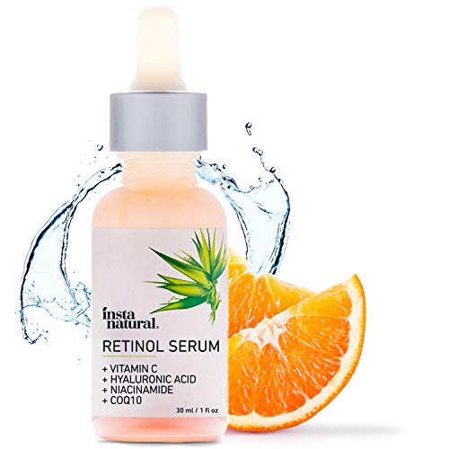 InstaNatural - Retinol Serum - Anti Wrinkle Exfoliating Serum - Helps Reduce Appearance of Puffiness, Wrinkles, Crows Feet & Fine Lines - Fights Acne & Blemishes - Vitamin C & Hyaluronic Acid - InstaNatural - 1 oz