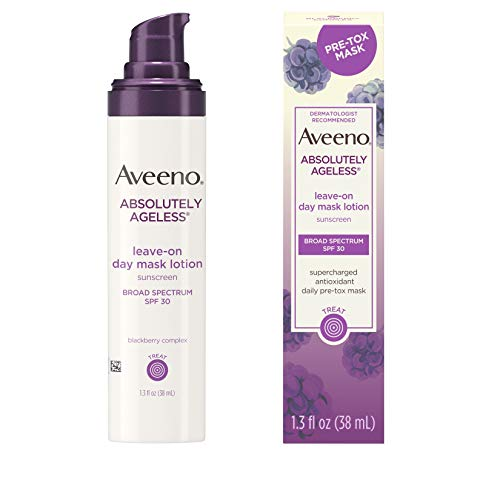 Aveeno - Aveeno Absolutely Ageless Leave-on Day Mask Face Lotion with SPF 30 Sunscreen, Blackberry Complex & Green Tea, Hypoallergenic, Non-Greasy & Non-Comedogenic, 1.3 fl. oz
