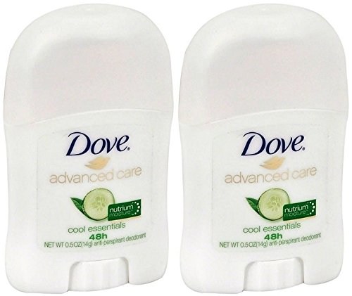Dove - Dove Advanced Care Antiperspirant Deodorant Stick, Cool Essentials, Travel Size 0.5 Ounce (Pack of 2)