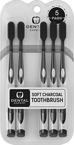 Dental Expert - 5 Pack Charcoal Toothbrush [GENTLE SOFT] Slim Teeth Head Whitening Brush for Adults & Children - Ultra Soft Medium Tip Bristles