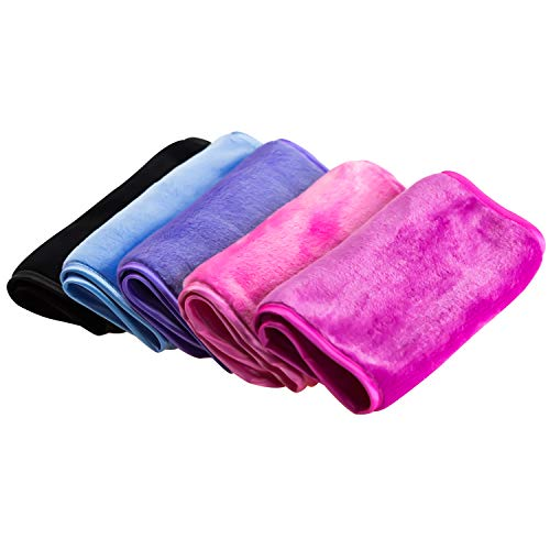 Nugilla - Nugilla Makeup Remover Cloth 5 Pack - Chemical Free,Reusable Microfiber Cleansing Towel,Suitable for All Skin Types,Move Makeup Instantly with Just Water,Multiple Colours