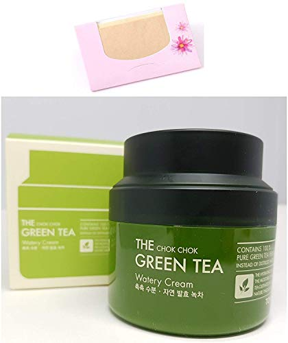 HAMISS - The Chok Chok Green Tea Watery Cream 60ml + SoltreeBundle Oil blotting Paper 50pcs