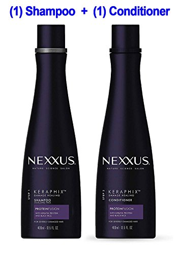 Nexxus - (1) Nexxus KERAPHIX Shampoo & (1) Nexxus KERAPHIX Conditioner - 13.5 oz (400 ml) EACH - Damage Healing - Keratin Protein and Black Rice - For Severely Damaged Hair