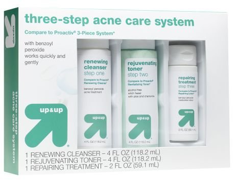Up&Up - Up & Up Acne Care Clear Skin System, 3-Step Kit (Renewing Cleanser, Rejuvenating Toner, Repairing Treatment)