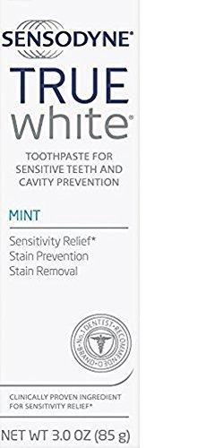 Sensodyne - Sensodyne True White Fluoride Toothpaste for Sensitive Teeth, Mint, 3.0 oz (Pack of 3)