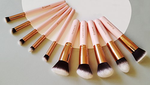 Lamora - Kabuki Makeup Brush Set - Foundation Powder Blush Concealer Contour Brushes - Perfect For Liquid, Cream or Mineral Products - 10 Pc Collection With Premium Synthetic Bristles For Eye and Face Cosmetic