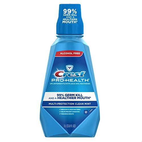 Crest Pro-Health Multi-Protection Alcohol Free Mouthwash, Clean Mint, 1 L (pack of 4) 4 Count Crest Pro-Health Multi-Protection Alcohol Free Mouthwash, Clean Mint, 1 L (pack of 4) 4 Count