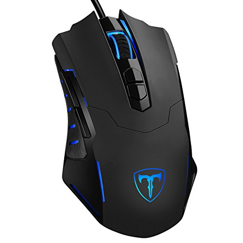 PICTEK - PICTEK Gaming Mouse Wired [7200 DPI] [Programmable] [Breathing Light] Ergonomic Game USB Computer Mice RGB Gamer Desktop Laptop PC Gaming Mouse, 7 Buttons for Windows 7/8/10/XP Vista Linux, Black