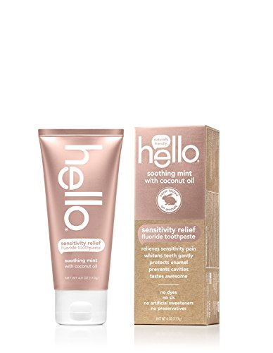 Hello Oral Care - Hello Oral Care Sensitivity Relief Toothpaste, Soothing Mint with Coconut Oil, 4 Ounce