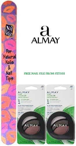 Almay - ALAMAY Intense i-COLOR Eye Shadow in Everyday Neutrals for Green Eyes #120 (Set of 2)PLUS A FREE NAIL FILE FROM FETISH
