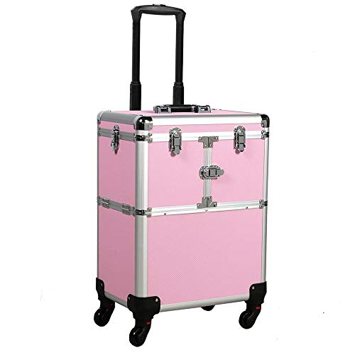 Yaheetech - Yaheetech Professional Pink Rolling Makeup Artist Case - Portable Travel Makeup Trolley Cosmetic Case Beauty Train Case Cosmetic Organizer