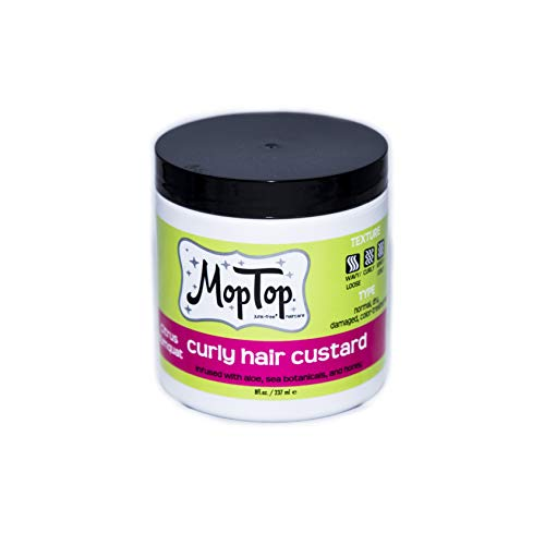 MopTop - 8oz, MopTop Curly Hair Custard Gel for Fine, Thick, Wavy, Curly & Kinky-Coily Natural hair, Anti Frizz Curl Moisturizer, Definer & Lightweight Curl Activator w/Aloe, great for Dry Hair. (8oz)
