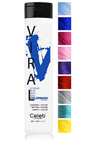 Celeb Luxury - Celeb Luxury Viral Colorwash: Blue Color Depositing Shampoo Concentrate, 10 Vivid and Pastel Colors, Stops Fade, 1 Quick Wash, Cleanse + Color, Sulfate-Free, Cruelty-Free, 100% Vegan