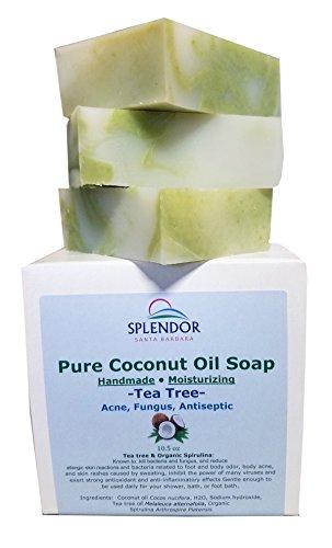 Splendor Santa Barbara - Tea Tree (10.5 oz) Pure Coconut Oil Soap with ORGANIC SPIRULINA. Handmade, Vegan, All Natural, Moisturizing, With AAA+ Therapeutic-Grade Australian Essential Oil