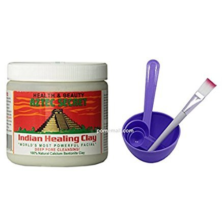 PomeMall - Indian Healing Clay & 4 in 1 Cosmetic DIY Facial Mask Bowl Brush Stick Measure Spoon (1 Lb, Purple)