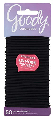 Goody - Goody Women's Ouchless Elastics, Black, 50 Count, 2MM for Finer Hair