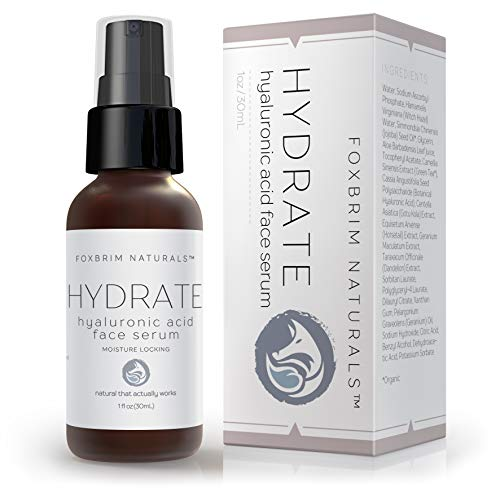 Foxbrim - Hyaluronic Acid Face Serum - Hydrating Anti Aging Facial Serum - For Face and Neck - With Vitamin C and E, Green Tea, Jojoba Oil - Natural and Organic - 1 Oz by Foxbrim Naturals