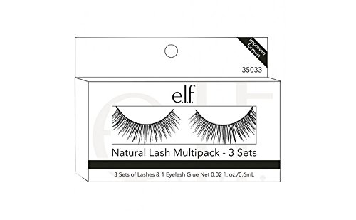 e.l.f. Cosmetics Natural Lash Multipack with 3 Sets of Lashes & 1 Eyelash Glue