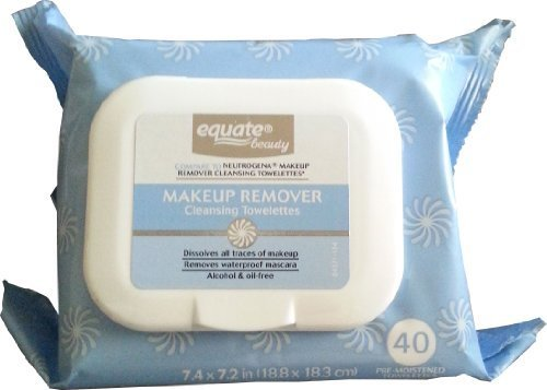 Equate - Makeup Remover Cleansing Towelettes 40ct by Equate Compare to Neutrogena Makeup Remover Cleansing Towelettes