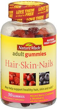 Nature Made - Nature Made Hair, Skin, Nails Adult Gummies Mixed Berry, Cranberry & Blueberry - 90 Gummies, Pack of 4