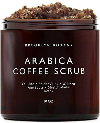 Brooklyn Botany Arabica Coffee Scrub -100% Natural - with Coconut and Shea Butter - Best Acne, Anti Cellulite and Stretch Mark treatment, Spider Vein Therapy for Varicose Veins & Eczema - 10 oz - Brooklyn Botany