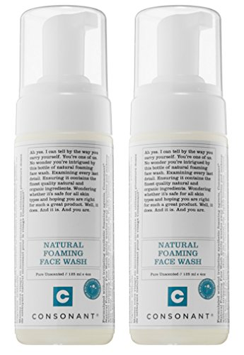 Consonant - Consonant Natural Foaming Face Wash (Pack of 2) with Tamanu Oil, Tea Tree Oil, and Green Tea, 125 ml