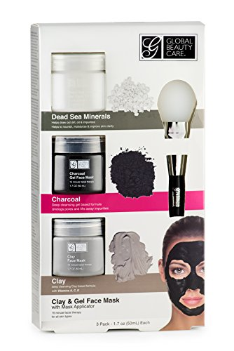Global Beauty Care - Dead Sea Minerals, Clay, Charcoal Gel Face Mask with Applicator