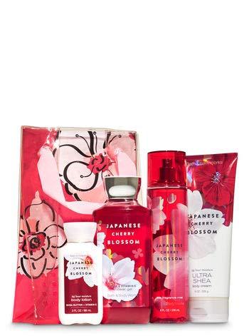 Bath & Body Works - Bath and Body Work JAPANESE CHERRY BLOSSOM Flower Power Gift Set - Body Cream - Fine Fragrance Mist - Shower Gel & a travel-sized Super Smooth Body Lotion