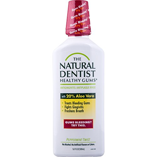 Natural Dentist - The Natural Dentist Healthy Gums Antigingivitis Mouthwash Peppermint Twist 16.9 Ounce Bottle (Pack of 3) Alcohol-Free Mouthwash for Daily Use Treats Bleeding Gums Fights Gingivitis 20% Aloe Vera