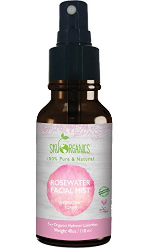 Sky Organics - Organic Rose Water Toner by Sky Organics 4oz-100% Pure, Organic Distilled Rosewater Toner For Face And Hair- Best Gentle Facial Cleanser -Preps Dry & Acne Prone Skin for Serums, Moisturizers & Makeup