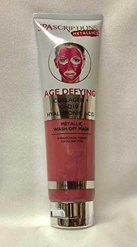 SPASCRIPTIONS METALLICS - SPASCRIPTIONS METALLICS. AGE DEFYING COLLAGEN+CoQ10+HYALURONIC ACID. METALLIC WASH-OFF MASK. FOR ALL SKIN TYPES. 5 OZ